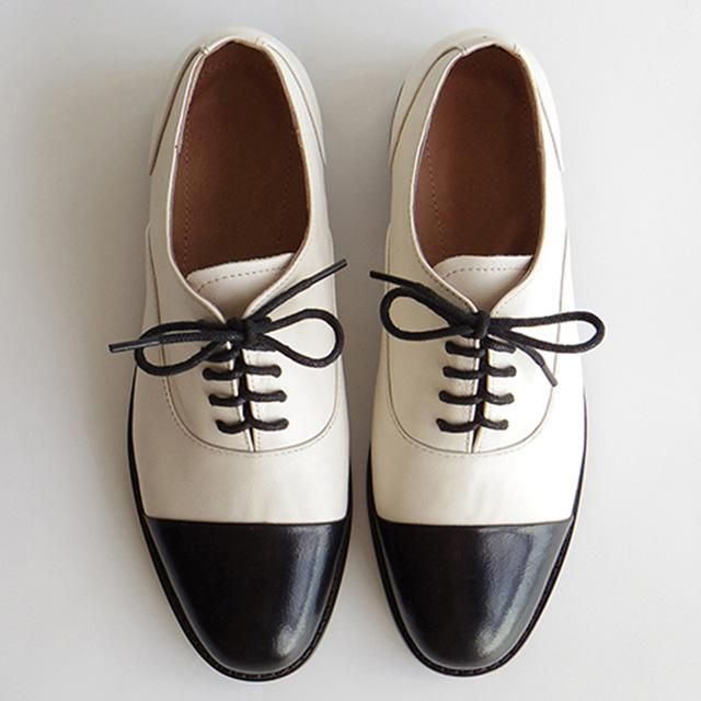 Women genuine leather oxford shoes round toe black white lady lace up brogues lo…