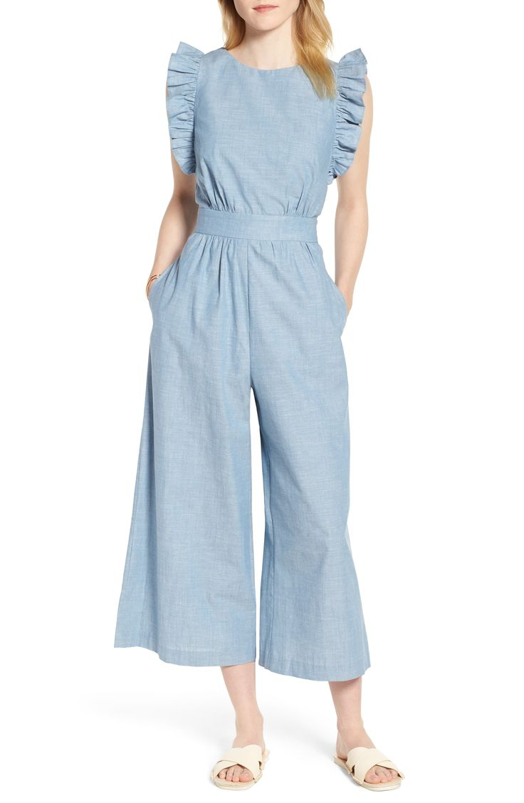 Women's 1901 Ruffle Sleeve Crop Jumpsuit, Size 14 – Blue