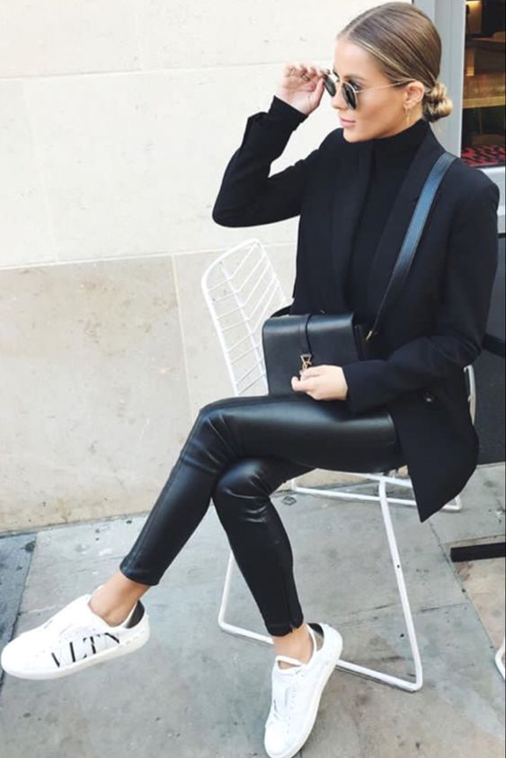 Women's fashion | Leather pants, sneakers, blazer and turtle neck shirt