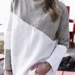 Womens Cowl Neck Color Block Long Sleeve Knit Pullover Sweater