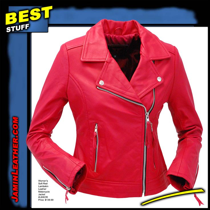 Women's Soft Red Lambskin Leather Motorcycle Jacket #L6061R