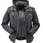 Women's Vintage Vented CCW Motorcycle Jacket with Hoodie #LA2516VHK