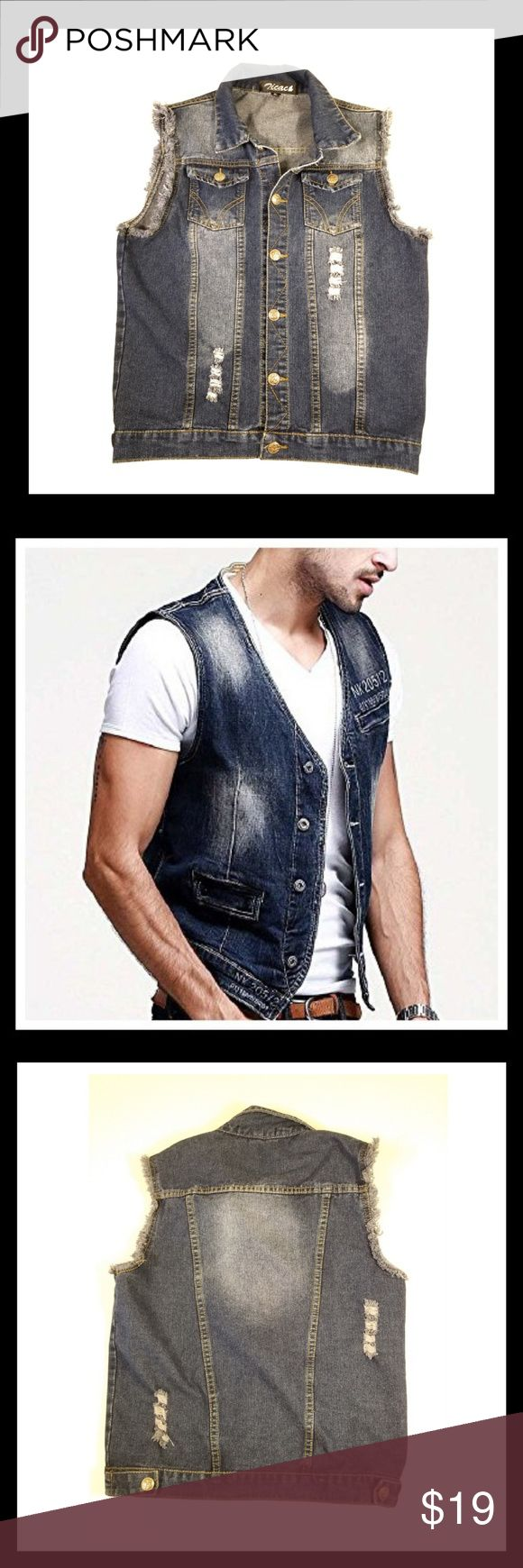 Zicac Mens Denim Vest 🌶Raw edges on arm openings  🌶Silver tone anchor butt…