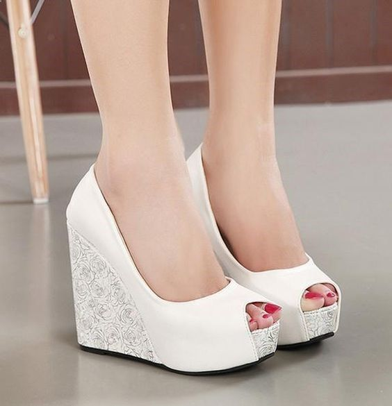 16 White Wedge Wedding Shoes with Brilliant Details