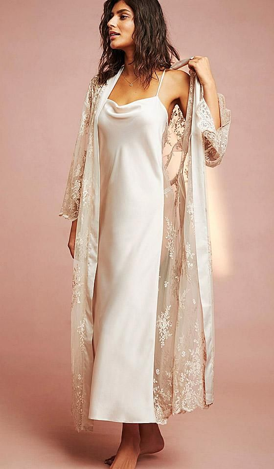 Darling Satin Charmeuse & Sheer Lace Nightgown (Robe available) (XS-Large)