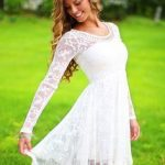 charming white lace long sleeves prom dress for girls,homecoming dress,party dress 2016,FS112 from romanticdress