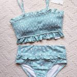 floral teal bandeau bikini top ruffle bandeau swimsuit ultra high waisted bathin...