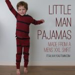 little man pajamas made from a men's shirt