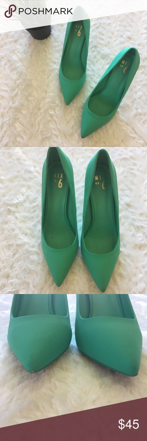 mix no. 6 / mint teal point toe high heel shoes worn once size 11 point toe high…
