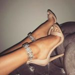 nude heels with diamond ankle strap