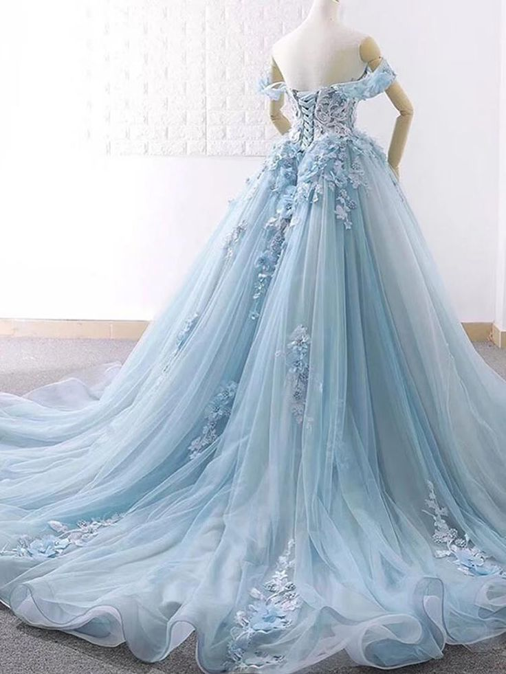 onlybridals Blue sweetheart tulle lace long prom dress, blue wedding dress