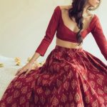 red batik printed cotton lehenga with full sleeves and scoop deep necklines