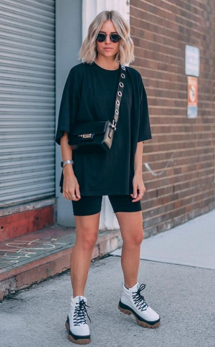 street style addict / crossbody bag   oversized tee   cycling shorts   boots