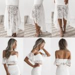 two piece white lace mermaid prom dresses, off the shoulder party dresses for te...
