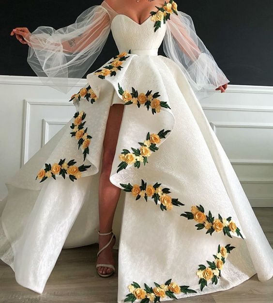 white prom dresses 2019 sweetheart neckline embroidery hand made flowers lace ball gown evening dresses long arabic