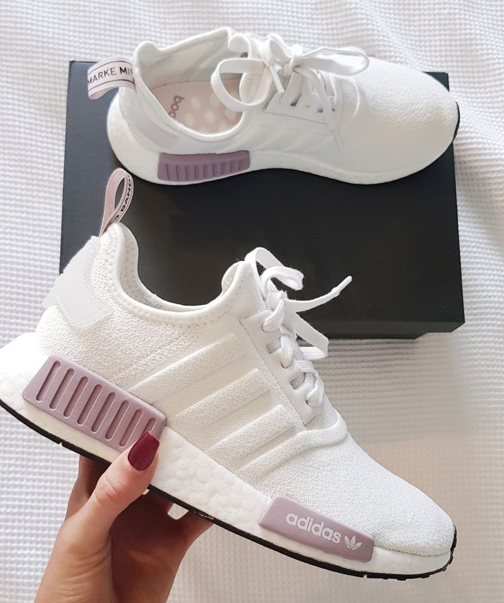 womens running shoes trainers NMD r1 white and purple pink adidas shoes